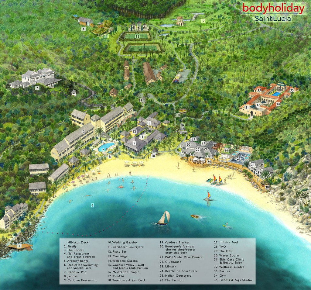 Body Holiday New Map 2018 St Lucia All Inclusive Resort