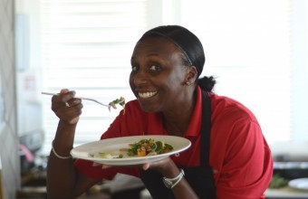 Olympian Donna Fraser at The BodyHoliday enjoying delicious lunch