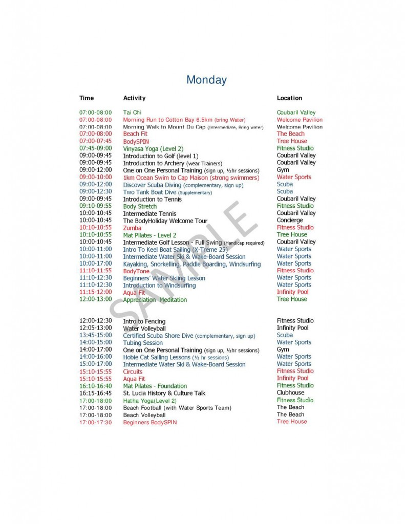 Monday Activities at Body Holiday