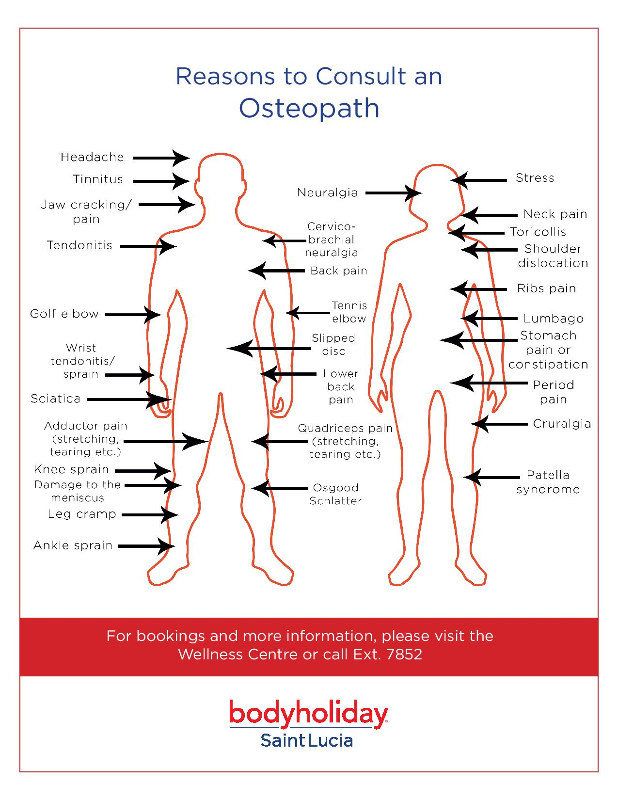Osteopath chart and reasons to visit them at BodyHoliday.